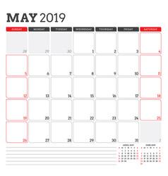 Calendar planner for may 2019 week starts vector