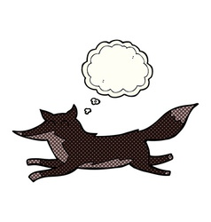 Cartoon running wolf with thought bubble vector