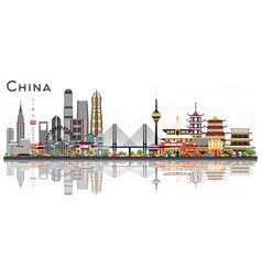 china city skyline isolated on white background vector image