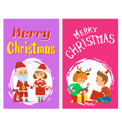 christmas children open gifts santa snow maiden vector image