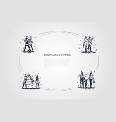 christmas shopping - people walking with vector image