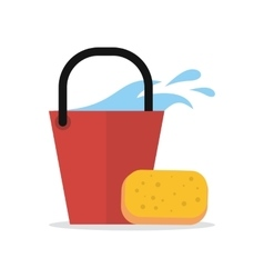 Cleaning Web Banner Bucket with Water and Sponge vector