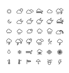 Collection of weather line icons on white vector