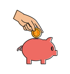 color piggy to save money and hand with coin vector image