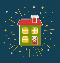 colored winter house icon in thin line style vector image