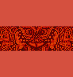 Creepy red pattern with ugly demons face vector