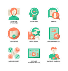 Customer validation icons set vector