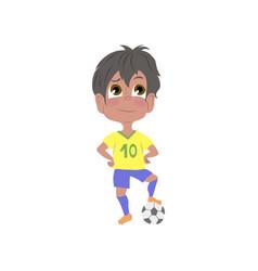 Cute young brazilian boy in yellow blue soccer vector