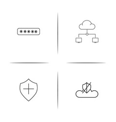 Cyber security simple linear icons set outlined vector