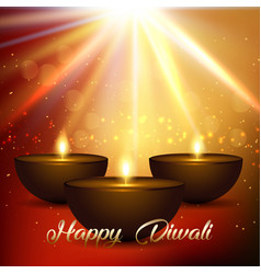 diwali background with bokeh lights and lamps vector image