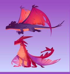 dragons cartoon characters fantasy magic creature vector image