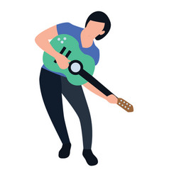Female playing guitar vector