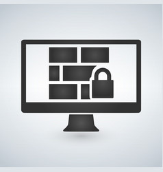 firewall on the computer monitor icon isolated on vector image