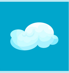 Flat icon of light blue cloud flying in sky vector