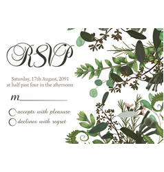 Flower card wedding invitation rsvp with green vector