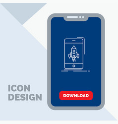 game gaming start mobile phone line icon in vector image