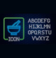 Glowing neon mortar and pestle icon isolated vector