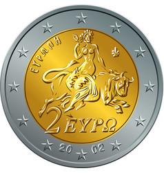 greek money gold coin two euro featuring europa vector image