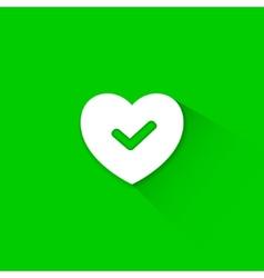 Green good heart icon vector
