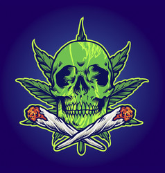 green skull marijuana joint smoke vector image