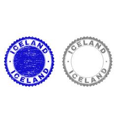 Grunge iceland textured stamps vector