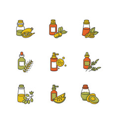 hair oils rgb color icons set hydrolyzed wheat vector image