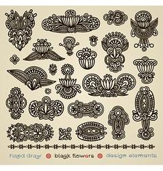 hand draw black flower design element vector image