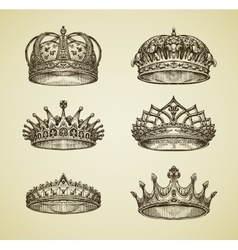 Hand-drawn vintage imperial crown in retro style vector