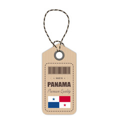 Hang tag made in panama with flag icon isolated on vector
