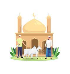 Happy eid al adha sacrifice livestock vector