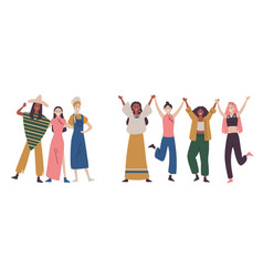 Happy women or girls standing together and holding vector