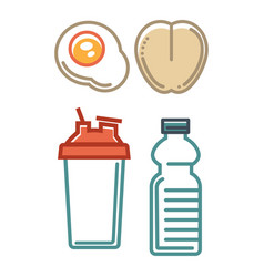 Healthy nutrition poster with water containers and vector