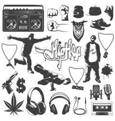 Hip Hop Icon Set vector image vector image