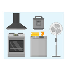 Home appliances kitchen equipment domestic vector