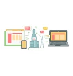Icon Flat Place of Technologies Concentration vector