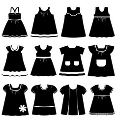 Icons different childrens dresses for baby vector