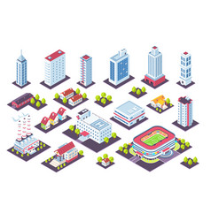 Isometric buildings set city houses and vector