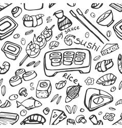 Japanese food - sushi doodle pattern vector