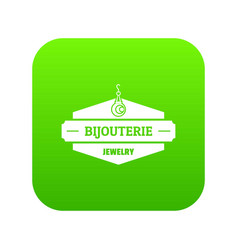 Jewelry shop icon green vector