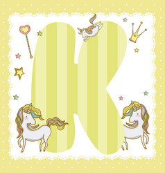 k alphabet letter for kids vector image