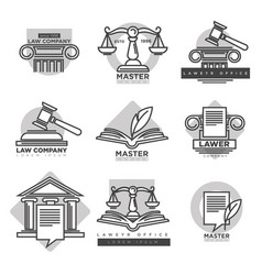 Law company logotypes set in grey color on white vector