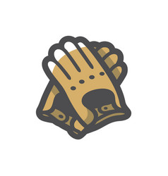 leather gloves protective clothing icon vector image