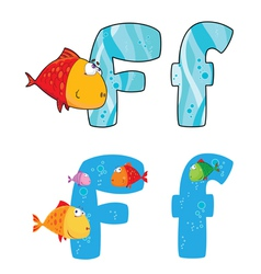 Letter F fish vector