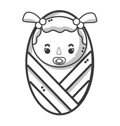 Line baby girl with pacifier and hairstyle vector