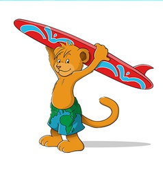 lion surfer vector image