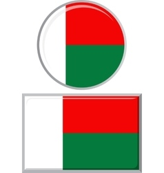 Madagascar round and square icon flag vector