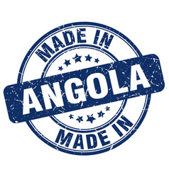 Made in angola blue grunge round stamp vector