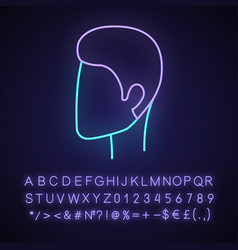 Man hairstyle neon light icon head with short vector