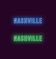 Neon name of nashville city in usa text vector