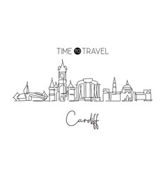 one single line drawing cardiff city skyline vector image